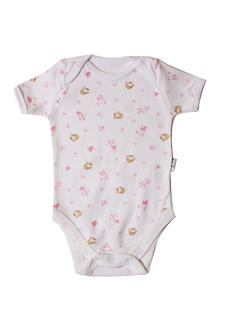 Baby Jem Desenli Body  Yarım Kol Pembe
